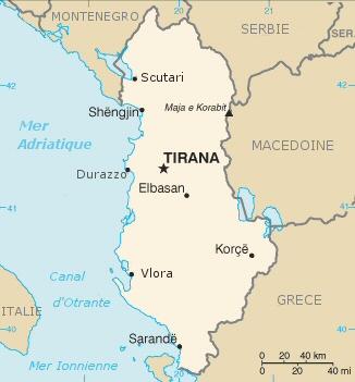 Carte de la république d'Albanie
