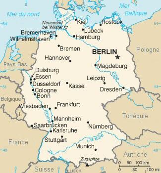 Carte de la république fédérale d'Allemagne