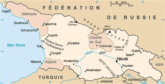 Carte de la république de Géorgie