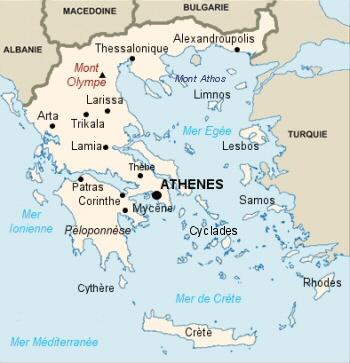Carte de la république de Grèce