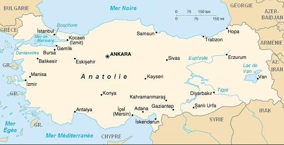 Carte de la république de Turquie